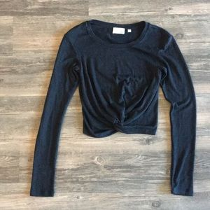 Black aritzia crop long sleeve with knot detail
